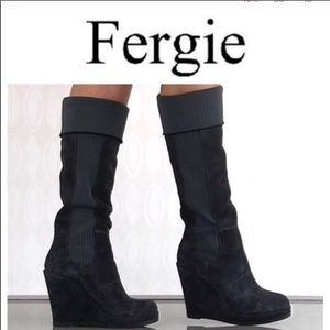 NWOT Fergie Citizen brown suede tall wedge boots